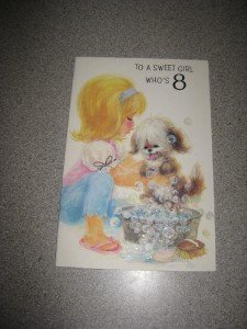 """To A Sweet Girl Who's 8"" Vintage Am. Greetings Unused"