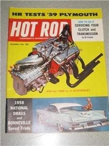 Hot Rod Magazine Nov 1958 Plymouth Chevy Small Block