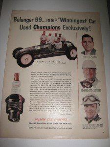 1951 Ad Champion Spark Plugs Indy 500 Belanger 99 Car