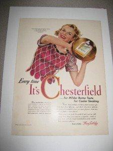 1942 Ad Chesterfield Cigs Basketballs 50th Anniversary