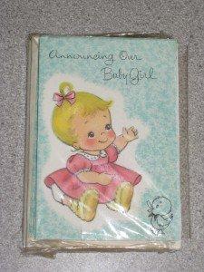 Vintage Set 12 Birth Announcements Baby Girl Unused NIP