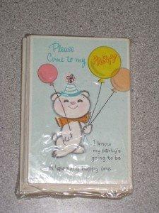 Vintage Set 12 Childs Birthday Party Invitations NIP!!