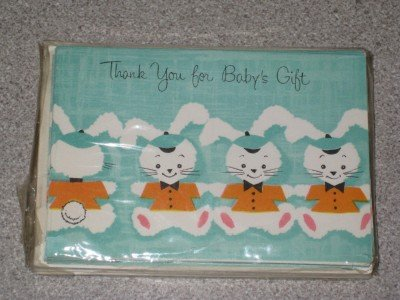Vintage set 12 Thank You Notes Baby Gift Unused NIP!!