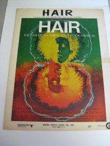 """Vintage Sheet Music Broadway Musical """"Hair"""" 1968"""