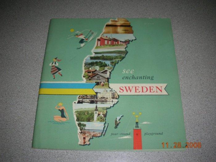 """Vintage Tourist Guide """"See Enchanting Sweden"""""""