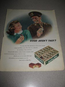 1943 Ad Milky Way Candy Bars WWII Soldier Girl Cool!!