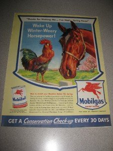 Mobil Oil Gas WWII Horse and Rooster Spring Fever 1943