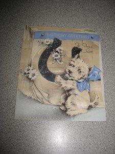 Vintage Silk Happy Birthday to Son Card Puppy 1940's
