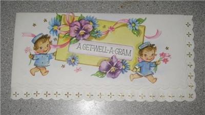 Vintage Unused Greeting Card Get Well a Gram Adorable!!