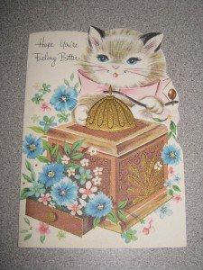 Vintage Unused Get Well Card Kitty Cat Sunshine Unused