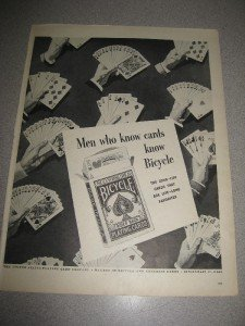 "1940's Ad Bicycle Playing Cards 10.5""x14"""