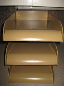 Vintage Deco Industrial 1940s Stacking Letter File Tray