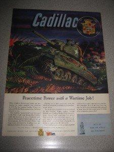1945 Life Mag Ad Cadillac GM WWII Tank M-24 Tank Wow!