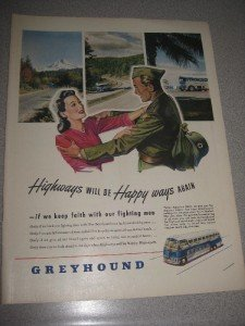 1945 Life Mag Ad Greyhound Bus Soldier Homecoming WWII