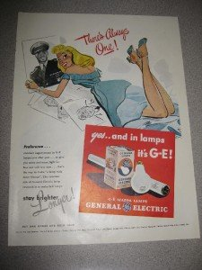 1945 Life Mag Ad General Electric GE Light Bulbs WWII