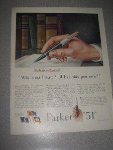 Vintage 1944 Life Magazine Ad  Parker Pens Parker 51
