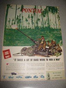 1944 Life Magazine Ad Pontiac GM WWII Firing Tank