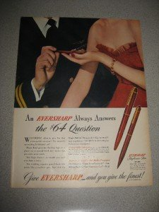 1945 Life Mag Ad Eversharp Skyliner Pen $64 Question