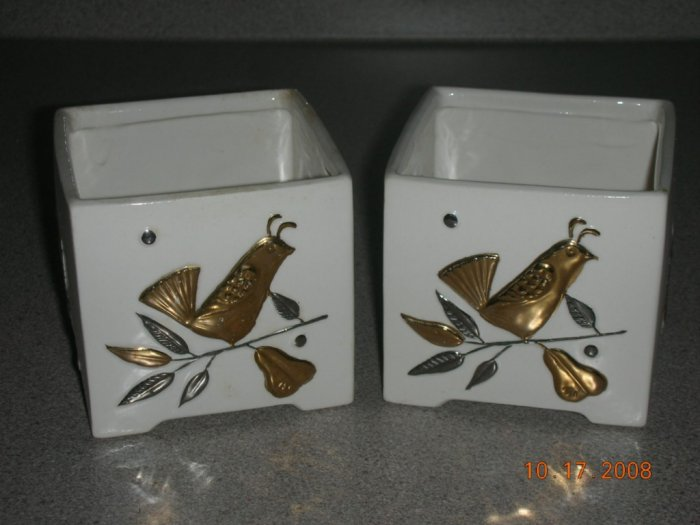 Vintage Holt Howard Candleholders Japan Pheasants 1960