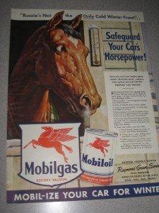 1942 Life Magazine Ad Mobiloil Mobilgas Mobil Horse