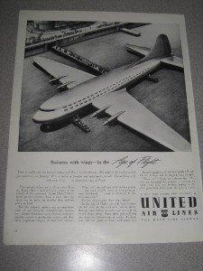 1942 Print Ad United Air Lines Age of Flight