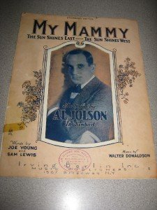 My Mammy Sheet Music 1921 Al Jolson in Sinbad