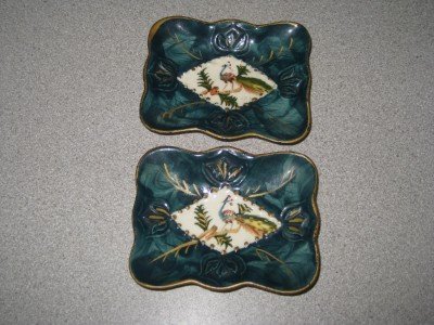 Set ot Two Hand Painted Peacock Ashtrays Made in Japan