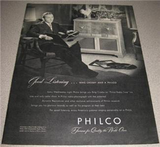 Vintage 1946 Ad for Philco Radios featuring Bing Crosby