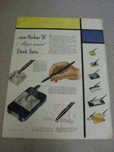 "1946 Ad Parker ""51"" Magic Wand Desk Sets Pens"