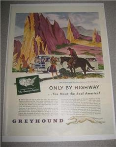 1946 Greyhound Bus Real America Cowboy on Horse