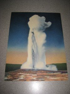 Vintage Giant Postcard Old Faithful Curteich Colortone