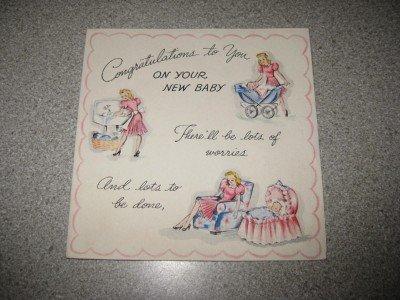 Adorable 1943 Hallmark Congratulations New Baby Card