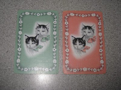 Set of Two Vintage Linen Swap Cards Kittens