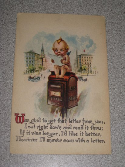 Circa 1910's Gartner & Bender Kewpie on a Mailbox Postcard
