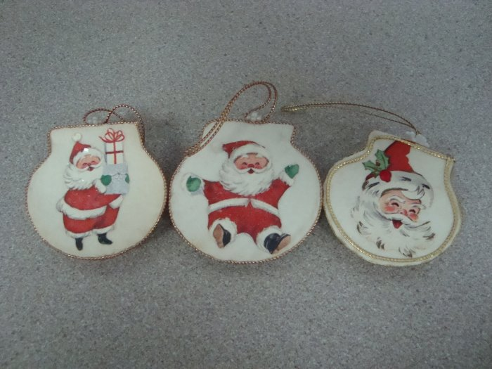 Vintage Handmade Santa Claus Seashell Ornaments