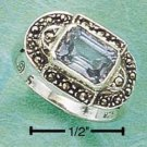 MSR-44 : STERLING SILVER MARCASITE WITH LONG RECTANGULAR BLUE TOPAZ ON ITS SIDE RING 5-9