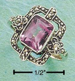 MSR-62 : STERLING SILVER MARCASITE OPEN FLORAL WINDOW WITH RECTANGULAR AMETHYST RING 5-9
