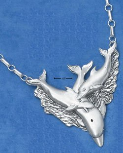"""NK-32 : STERLING SILVER SATIN/DC TRIPLE DOLPHIN NECKLACE (APPROXIMATELY 21"""")"""