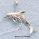 CH-146 : STERLING SILVER HP CURVED DOLPHIN W/ BABY CHARM