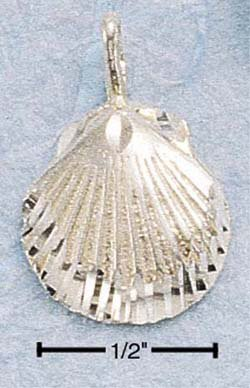 CH-46 : STERLING SILVER DIAMOND CUT SCALLOP SHELL CHARM