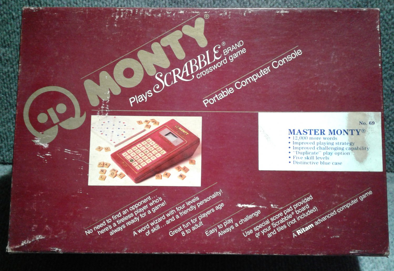 MASTER MONTY - ELECTRONIC SCRABBLE GAME 1986 - ONE EXTRA VOCABULARY MODULE (IN BOX)
