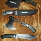 WORKPRO 2pc OUTDOOR CAMPING & HUNTING - Steel Hawk Axe & Knife Set [BRAND NEW]