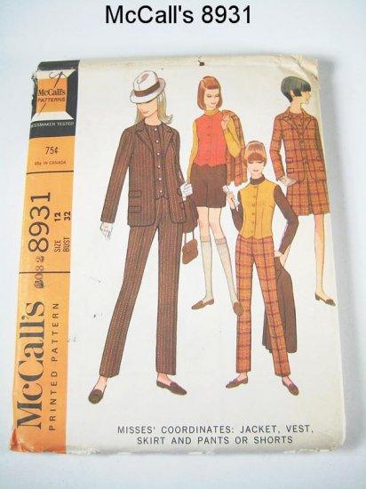 McCall's 8931 Misses Coordinates Vtg 1967 - Size 12