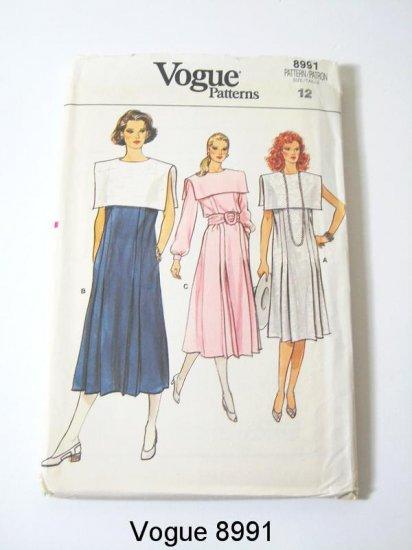 Vintage Vogue 8991 Misses Pleated Front Dress - Sz 12