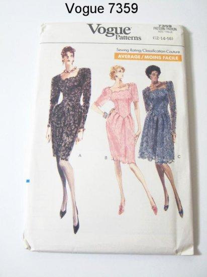 Vintage Vogue 7359 Misses Lace Dress - Sz 12/14/16
