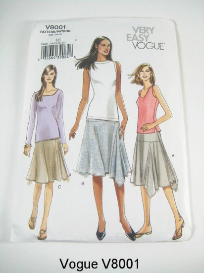 Vogue V8001 Misses' Asymetrical Skirt - Size 14/16/18/20