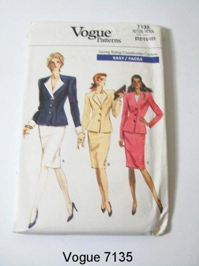 Vintage Vogue 7135 Misses' Jacket and Skirt - Size 12/14/16