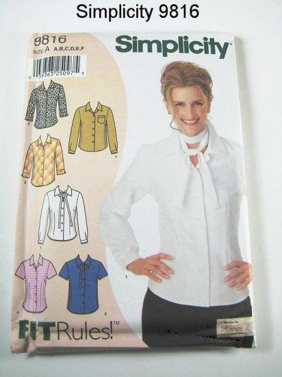 Simplicity 9816 - Misses' Blouse in 4 Variations - Size A