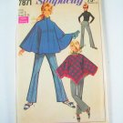 Vintage Simplicity 7871 Misses' Ponchos and Bell Bottom Pants - Sz 8
