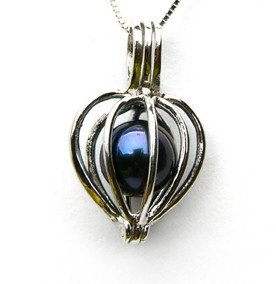Pearl in Heart Shaped Cage Pendant $19.99 with Free necklace and Free Shipping!